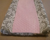 Changing pad cover, Gray Damask/ Pink Minky, ships in 2 days