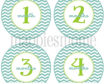 Baby Boy Monthly Stickers Monthly Photo Stickers Milestone Stickers Growth Stickers (Blue Green Chevron)