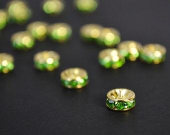 10 Pcs - 6MM Apple Green Gold Plated Rhinestone Spacer Beads, Rondelle Gold Spacer, Gold Plated Beads,Crystal Rhinestone - SP006A