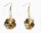 Crochet Earrings in White, Gold Yellow and Brown