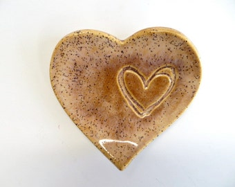 ring holder, ring dish, wedding shower, party favor, heart dish, speckled amber,  Earthenware Pottery,IN STOCK
