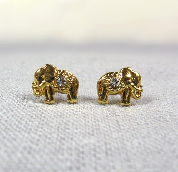 Gold  Earrings Studs, Elephant Earrings - nicearticles, серьги, сережки