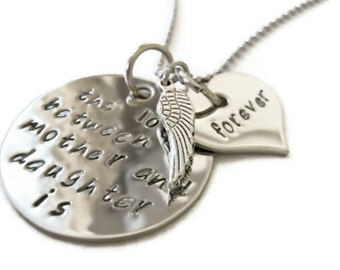 "SALE: Sympathy Mother & Daughter Necklace ""The love between a mother and daughter is forever"" hand stamped with angel wing"