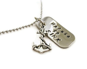 """Anchor necklace """"Refuse to SINK"""", mini dog tag with anchor charm, anchor jewelry, summer necklace"""