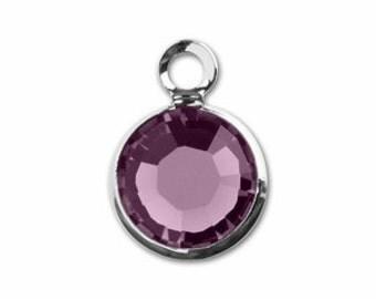 FEBRUARY BIRTHSTONE Amethyst - Swarovski Crystal Silver Plated Birthstone Channel Charms