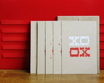 Simple Greeting Notecards - XO, Linoleum block Notecards w/envelopes (5-pack)