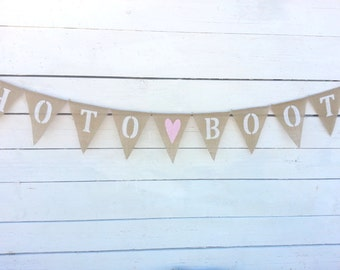 Photo Booth Burlap Banner with Light Pink Heart
