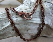 Oxidized Copper Rope Chain, Finished Chain, Necklace with Lobster Claw Clasp, Choose your length, Made to order in 3 to 5 days