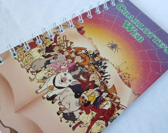 Upcycled Notebook/Recycled Notebook from a Charlotte's Web VHS box, 50 sheets/100 pages
