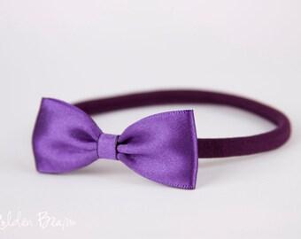 Baby Headbands Bows - Flower Girl Headband - Small Satin Purple Bow Handmade Headband