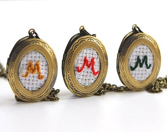 3 Embroidery Monogram Bridesmaid Locket Necklaces, Vintage Monogrammed Personalized Bridesmaids Gifts, Antique Bronze Bridesmaid Jewelry