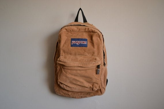 Tan Corduroy Jansport Backpack