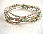 Turquoise Boho Wrap Bracelet, Turquoise Green Magnesite Stones, Layered Bracelet, Handmade in France