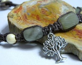 Tree Of Life Hemp Anklet Gemstone Earthy Nature XL Plus Size OOAK