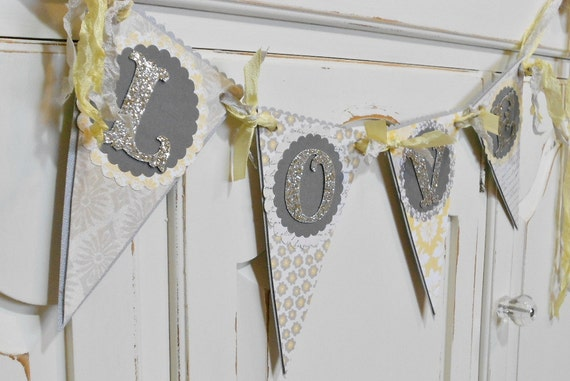 "Wedding Garland ""LOVE"" Banner - Photo Prop - Yellow and Grey"