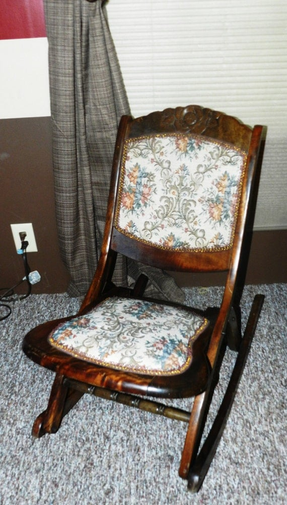 Antique Folding Sewing Rocker Rocking Chair