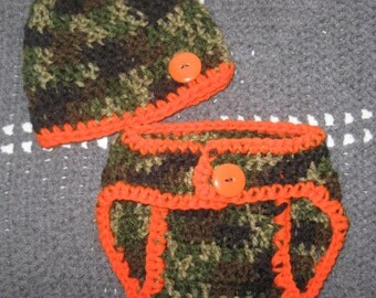 Little Hunter Camo Baby Diaper Cover and Baby Hat Set-  Baby Shower Gift, Ready to Ship