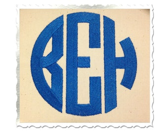 Circle 3 Letter Monogram Machine Embroidery Font Alphabet - 4 Inch Size ONLY