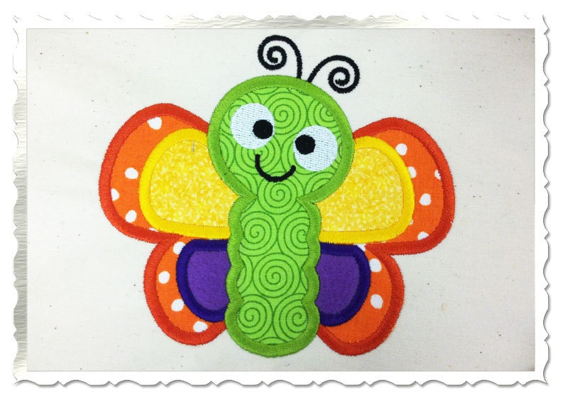 Applique butterfly machine embroidery design sizes