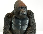 Amazing Silverback Gorilla Sculpture, Hand Crafted Ornament, Gift