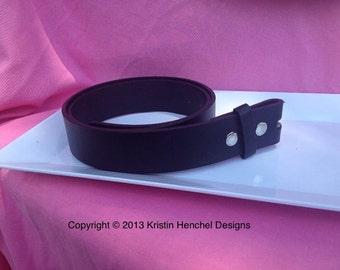 Black leather full grain strap/snap belt sizes S-L