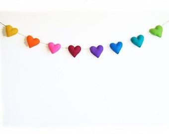 Valentines Heart Garland - handstitched felt hearts - rainbow colors