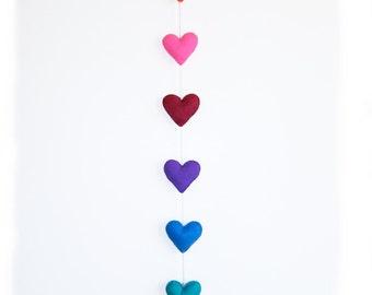 Valentines Heart Garland - handstitched felt hearts - rainbow colors - vertical garland
