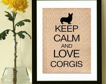 Corgi Print, Corgi Art, Dog, Keep Calm Corgi, Vintage Inspired, Modern Wall Decor