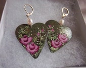 Pink Rose Earrings, Hand-Painted on Metal Hearts, Dangles, Victorian, OOAK, Lightweight
