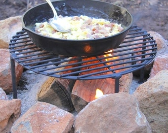 Sturdy camping fry pan / skillet stand/ grate, cast iron cooking on fire pit,  Dutch Oven lid stand, MADE to ORDER