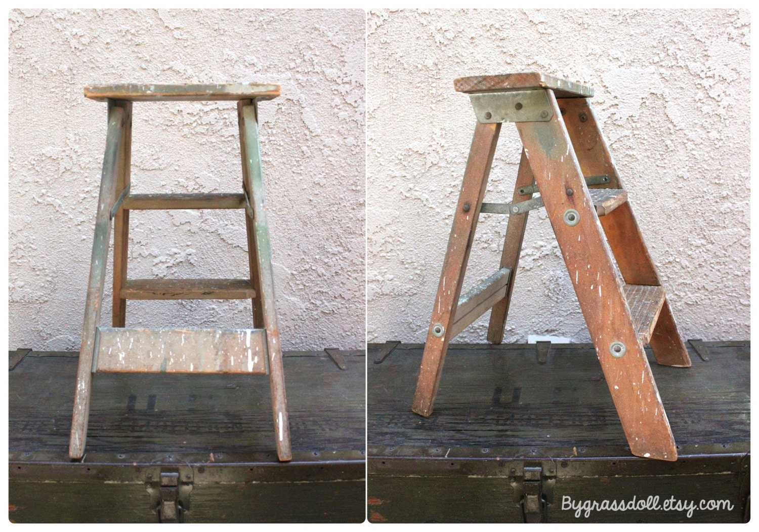 Vintage Wood Step Ladder by bygrassdoll on Etsy