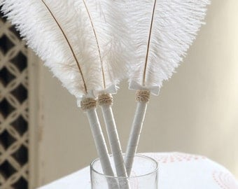 "2pcs/pack  White ostrich feather  guest book pen  for wedding 14-16"" long"