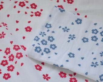 Flour Sack Dish Towel - Sakura: Steel Blue, Raspberry