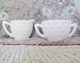 Vintage Milk Glass Cream and Sugar Set Mid Century Coffee Tea Serving White Creamer