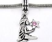 2 pcs Antique Silver Rhinestone Virgo Zodiac Charm Dangle Beads Fit European Bracelet 36x16mm 09357