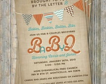 BABYQ baby shower invitation with banner, tan orange teal, digital, printable file