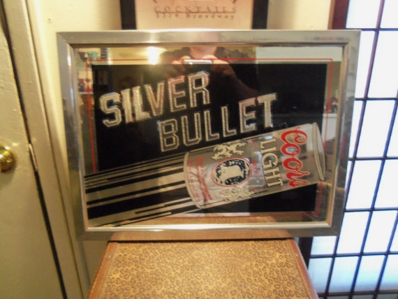 Vintage 1983 Silver Bullet Coors Light Beer Mirror Sign Retro