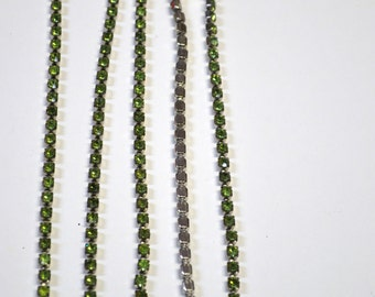 Peridot Rhinestone Chain 20ss on Silver backing