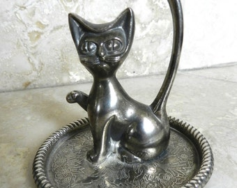 Vintage Ring Holder - Jewelry Stand - Silver Cat - Jewelry Display - Silver Ring Dish - Gift for Cat Lover - Silver Tray Ring Cat Tree Ring
