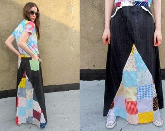Patchwork Denim Hippie Long Flared Bohemian Grunge Skirt