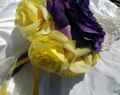Wedding bouquet yellow and purple silk flower bouquet Rose bridal bouquet
