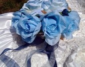 Blue Crystals Bridal Bouquet Blue Roses with faux crystal charms accented all around bouquet