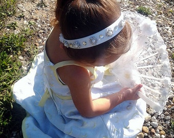 Faux Diamond and Pearls Bridal Head band in white, and silver