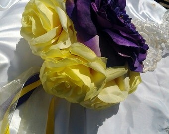 Wedding bouquet yellow and purple silk flower bouquet Rose bridal bouquet