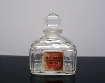 Vintage Crystal French Deco 1 oz. Bellodgia Caron Perfume Bottle