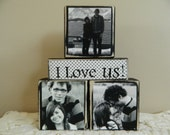 Personalized wedding gift with three photos black and white I love us painted black blocks anniversary wedding shower gift happily ever