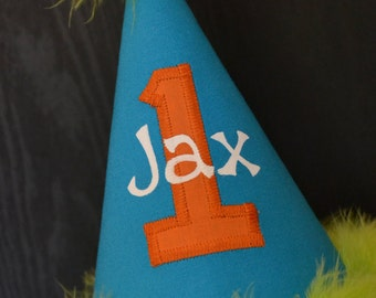 1st Birthday Party Hat WITH NAME hand painted in Turquoise,  Lime Green and Orange
