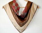 Vintage Leonardi Scarf - Beige, Brown, Pink, White - Linear