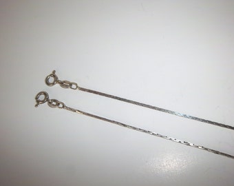 Vintage Silver Snake Chain Bracelets set of Two Thin Flat  7""