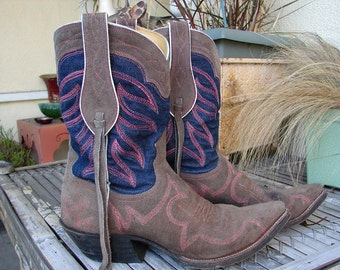 Selvage/Selvedge Denim & Leather Cowboy Boots Custom Hand Made to Order for your feet